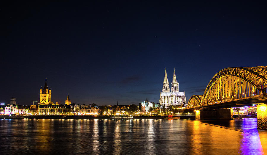 Cologne Photograph - Cologne At Night by Alexandra-Emily Kokova
