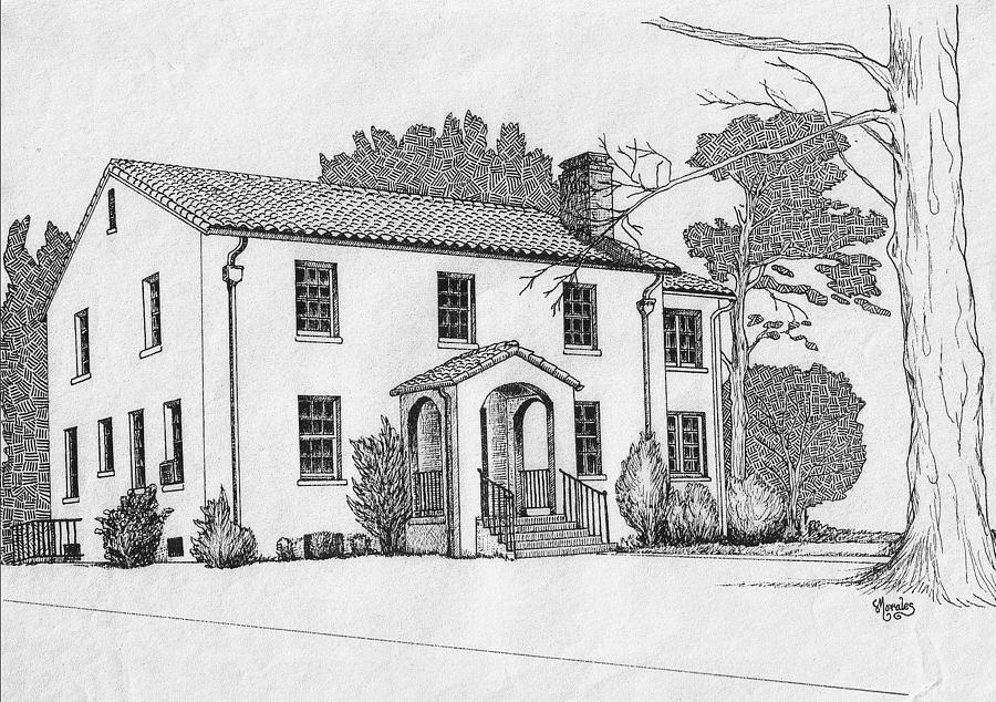 Colonel Quarters 2 - Fort Benning GA Drawing by Marco Morales