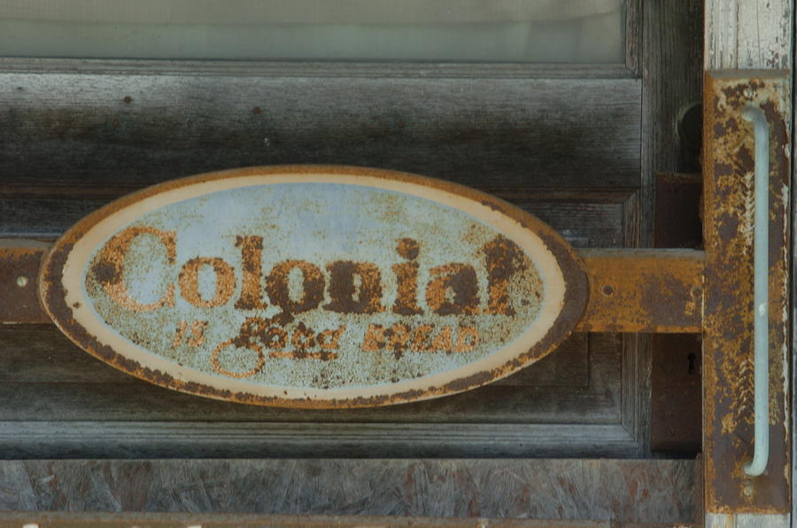 Sign Photograph - Colonial Sign Detail by Jon Benson