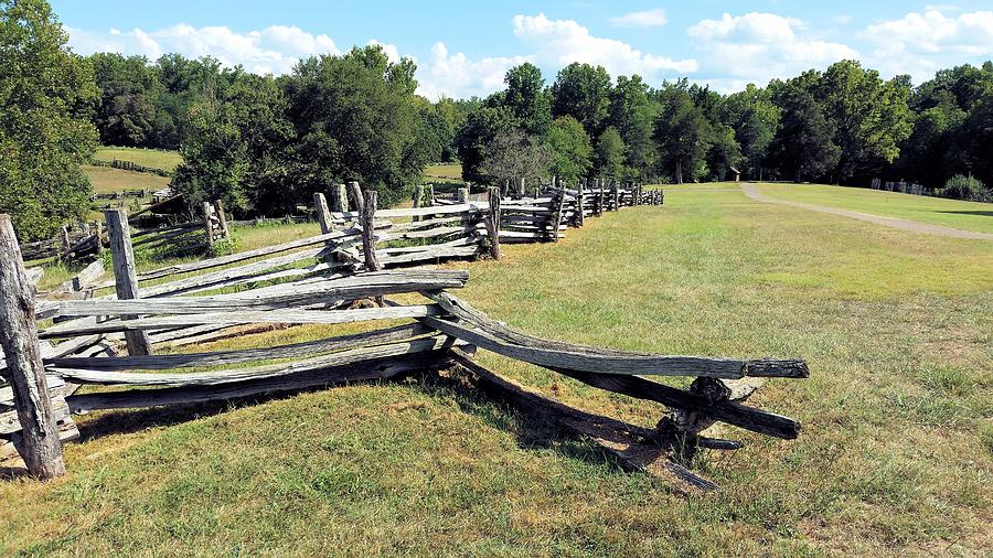 Zig Zag Fence Photograph - Colonial Zig Zag Fence At Booker T Washingtons Home by Kevin Carbone
