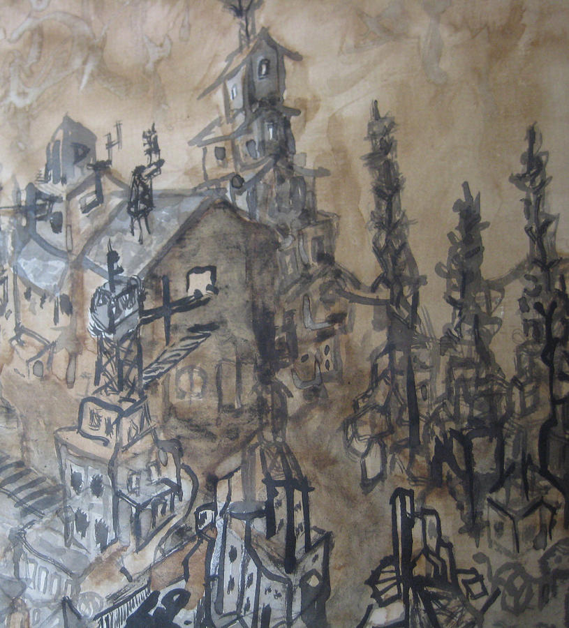 Coffee Painting - Colonization Cu Detail by Raul Morales
