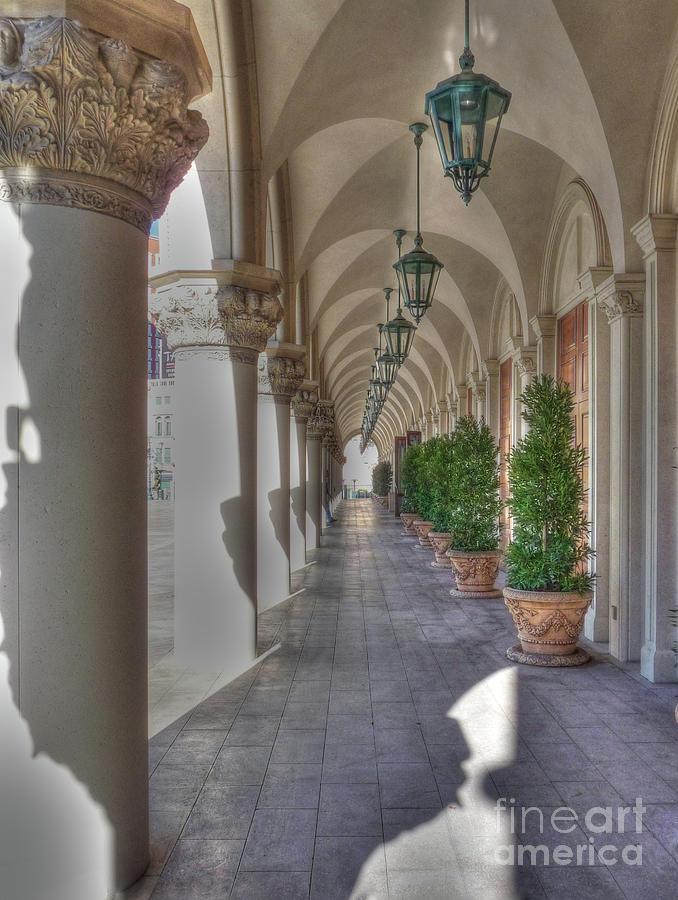 Venetian Hotel Photograph - Colonnade At The Venetian by David Bearden