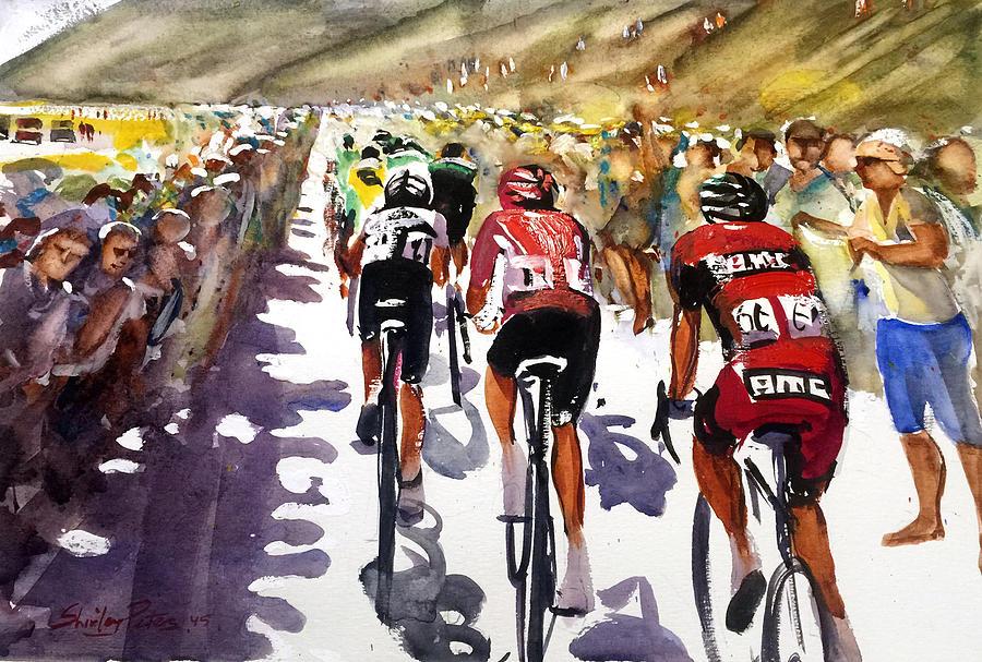 Le Tour De France Painting - Color And Movement At Le Tour De France by Shirley Peters