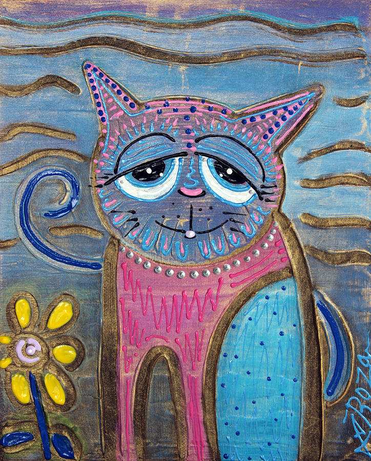 Abstract Painting - Color Me Cat by Laura Barbosa