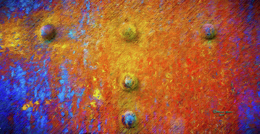 Steel Photograph - Color Rivets by Marvin Spates