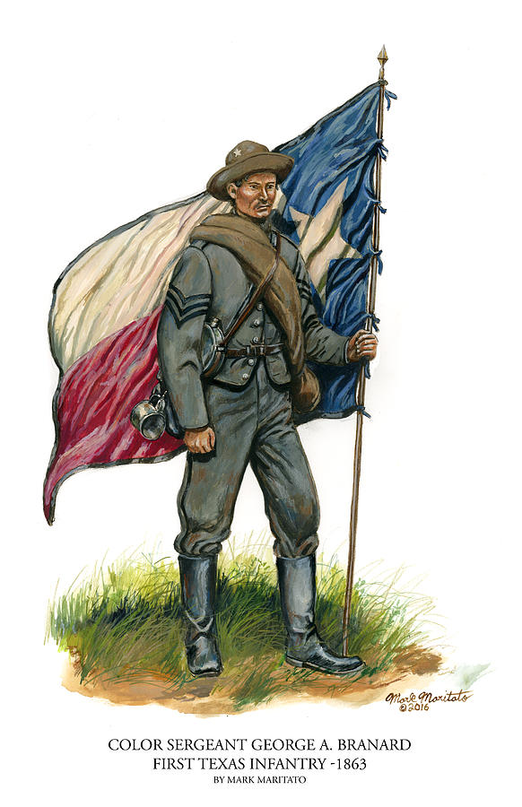 Color Sergeant George A. Branard - First Texas Infantry Painting