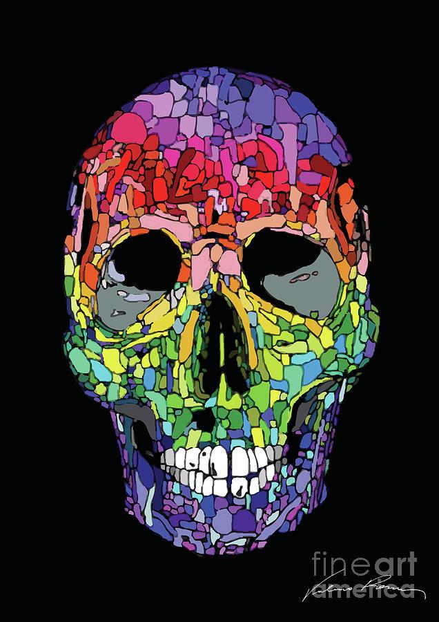skull digital art color skull by valerio porru