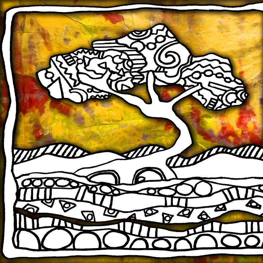 Color Splash Zen Tree Mixed Media by Maria Padgett