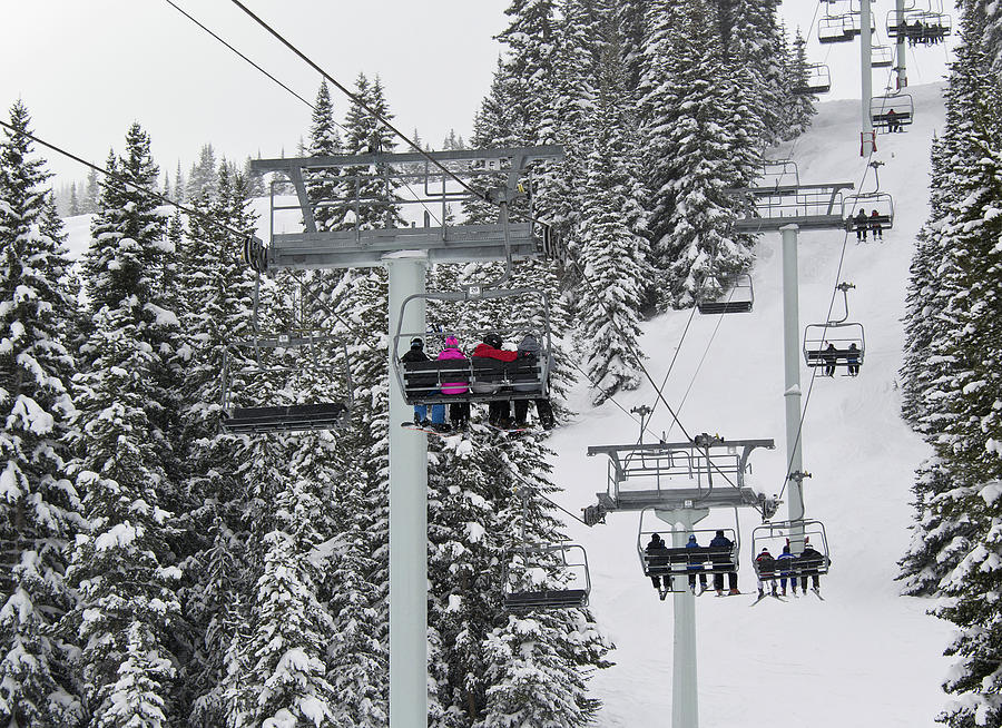 Chairlift Photograph - Colorado Chair Lift During Winter by Brendan Reals
