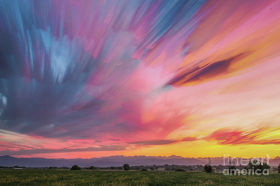 Hdr Photograph - Colorado Front Range Crazy Sunset Timed Stack by James BO Insogna