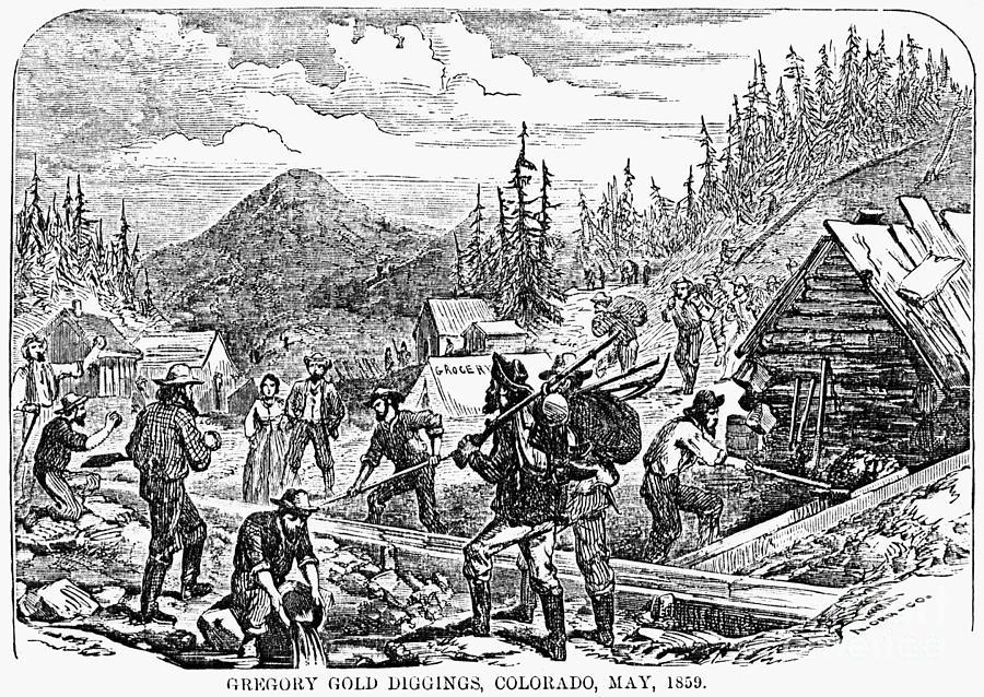 1859 Photograph - Colorado: Gold Mining, 1859 by Granger