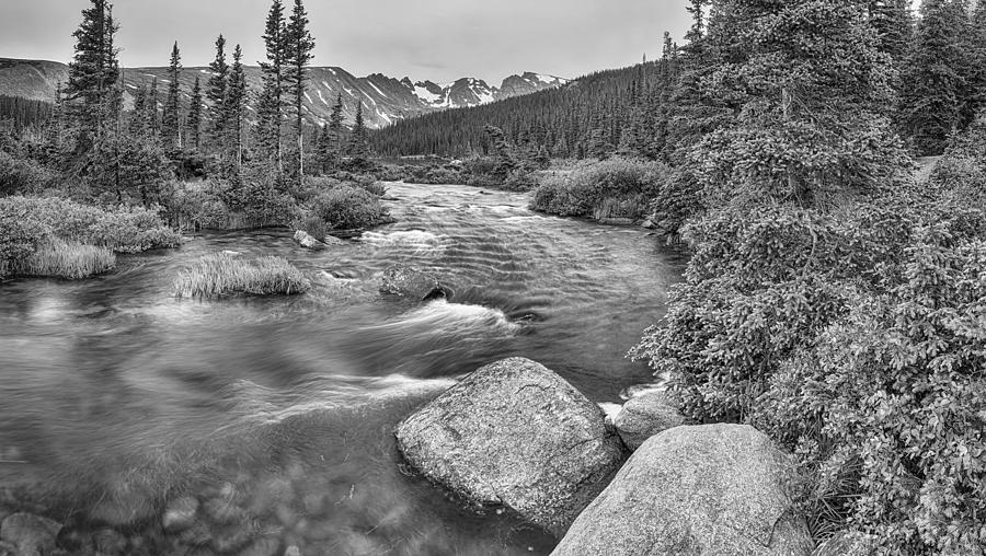Colorado Indian Peaks Wilderness Panorama Bw Photograph