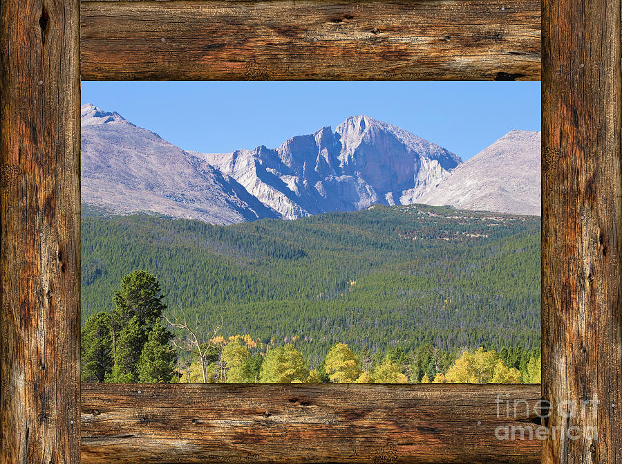 Colorado longs peak rustic wood window view photograph by for Wood windows colorado