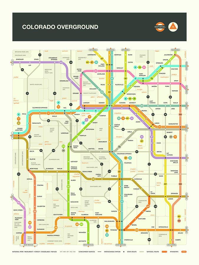 Colorado Map Digital Art - Colorado Map by Jazzberry Blue