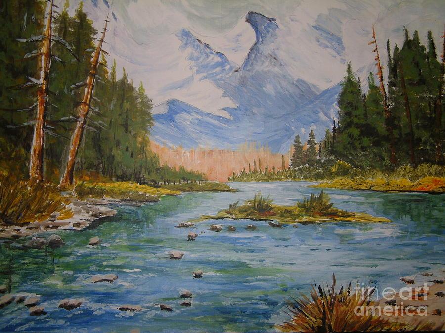 Mountains Painting - Colorado Mountain Stream  by Tristan Brock