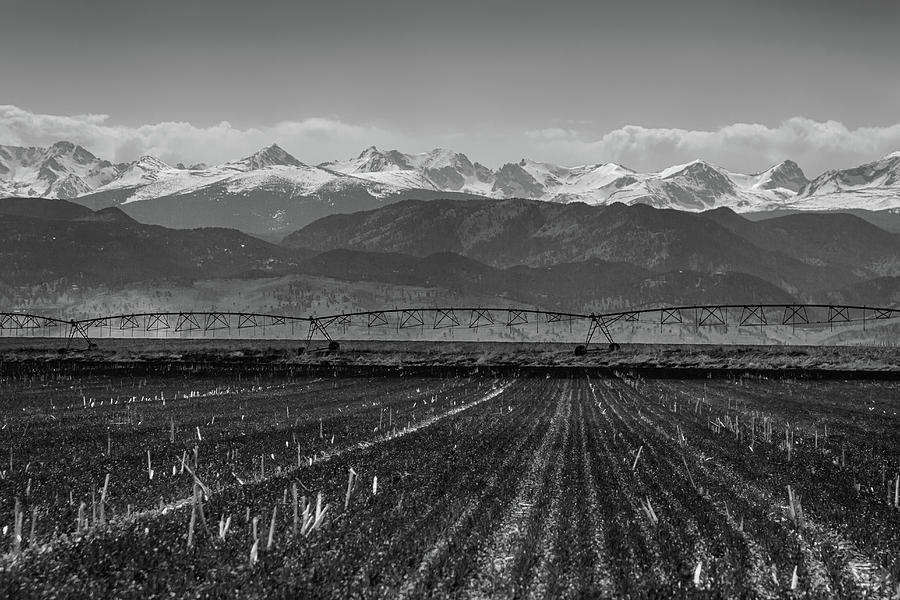 Farming Photograph - Colorado Rocky Mountain Agriculture View In Black And White by James BO Insogna