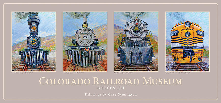 Train Painting - Colorado Rr Museum Quadtych by Gary Symington