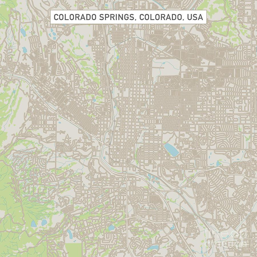 Colorado Springs Colorado Us City Street Map Digital Art by Frank ...