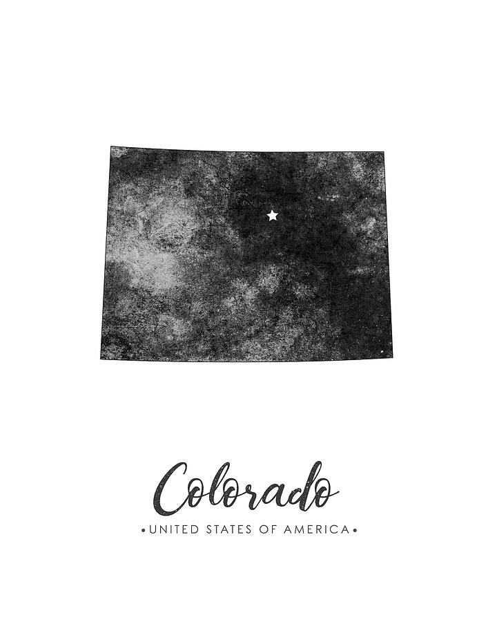 Colorado State Map Art Grunge Silhouette Mixed Media By Studio