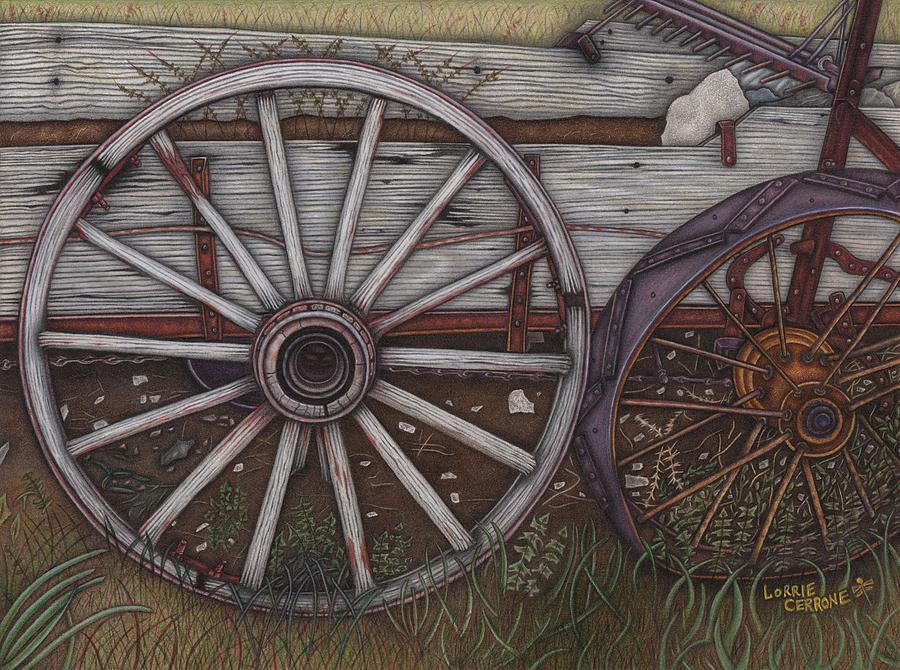 Wagon Wheel Drawing - Colorado Wheels by Lorrie Cerrone
