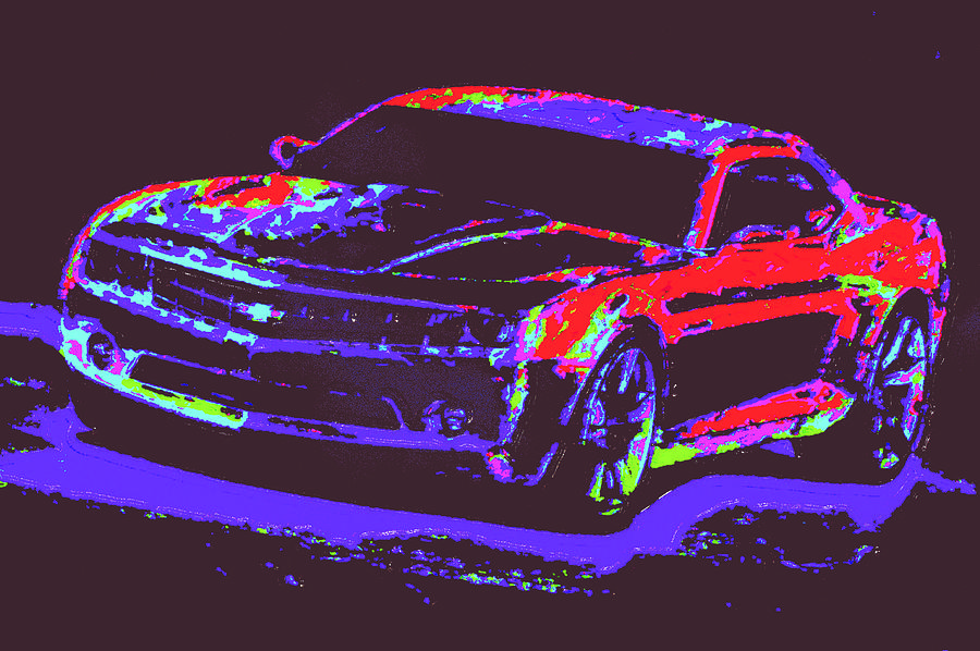 Colored Chevy D4 Digital Art by Modified Image