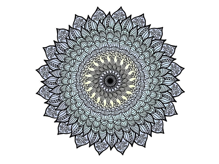 Flower Mixed Media - Colored Flower Zentangle by Lisa Stanley