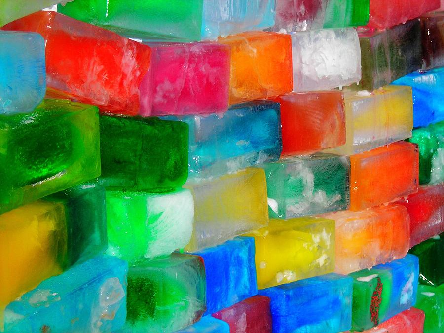 Wall Photograph - Colored Ice Bricks by Juergen Weiss