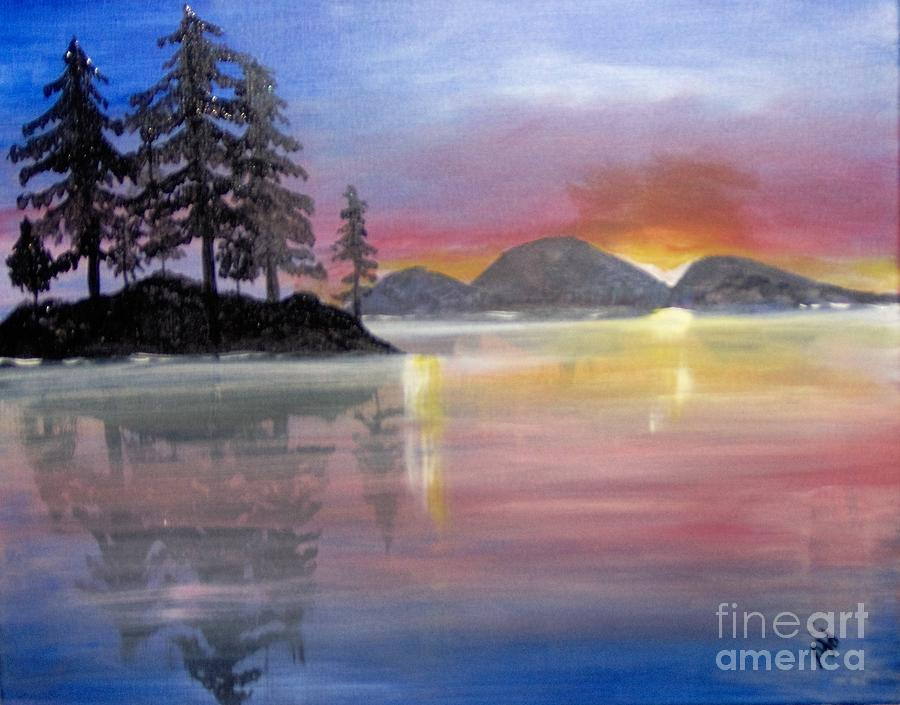 Color Painting - Colored Lake by Saundra Johnson