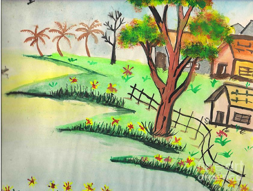 Beautiful Landscape Painting - Colored Landscape by Tanmay Singh