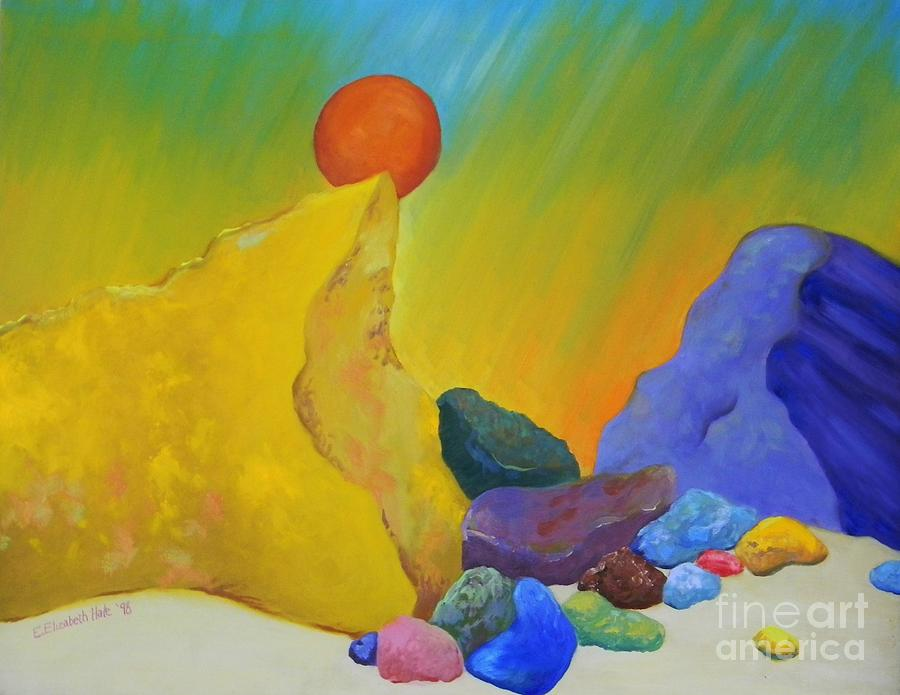 Rocks Painting - Colored Rocks In Sand by Emily Michaud