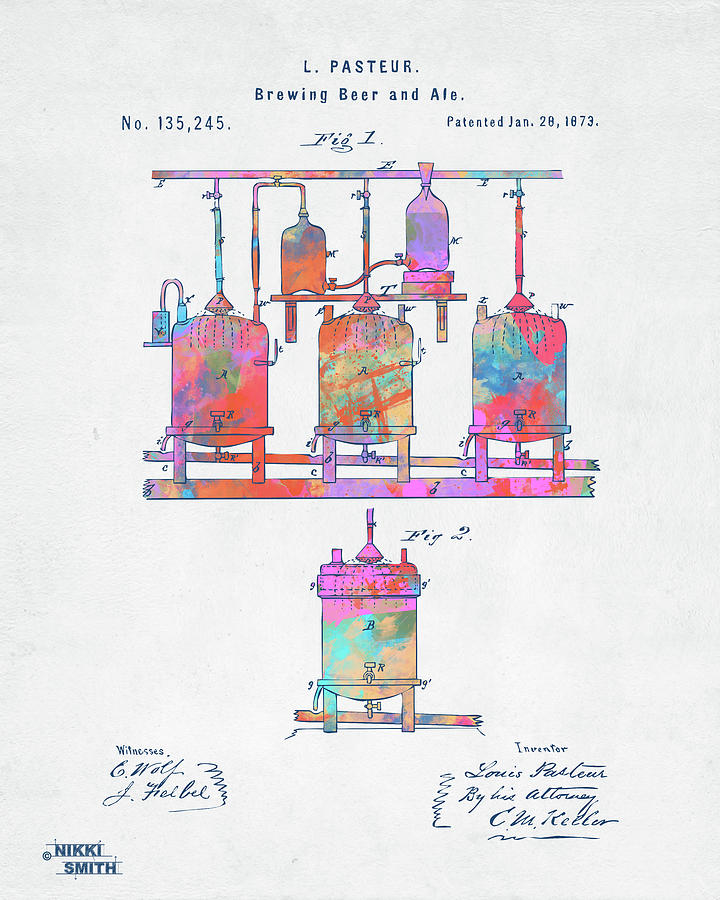 Colorful 1873 Brewing Beer And Ale Patent Artwork by Nikki Marie Smith
