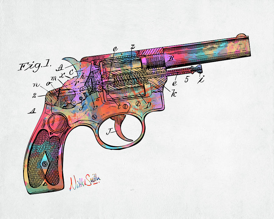Colorful 1896 Wesson Revolver Patent by Nikki Marie Smith