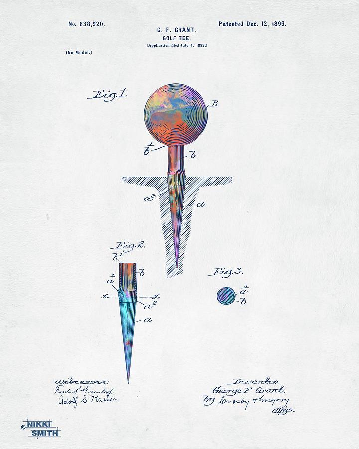 Colorful 1899 Golf Tee Patent by Nikki Marie Smith