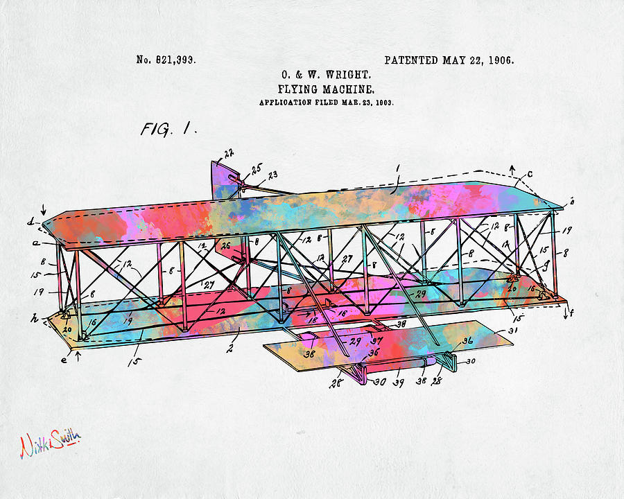Colorful 1906 Wright Brothers Flying Machine Patent by Nikki Marie Smith