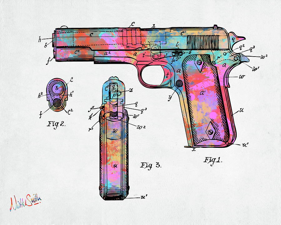 Colorful 1911 Colt 45 Browning Firearm Patent Artwork Minimal by Nikki Marie Smith