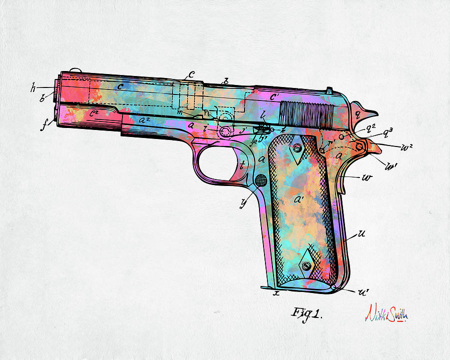 Colorful 1911 Colt 45 Browning Firearm Patent Minimal by Nikki Marie Smith