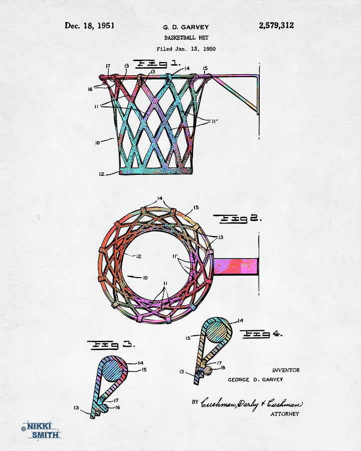 Colorful 1951 Basketball Net Patent Artwork by Nikki Marie Smith