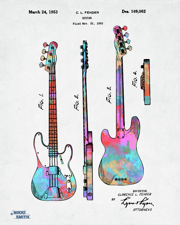Colorful 1953 Fender Bass Guitar Patent Artwork by Nikki Marie Smith
