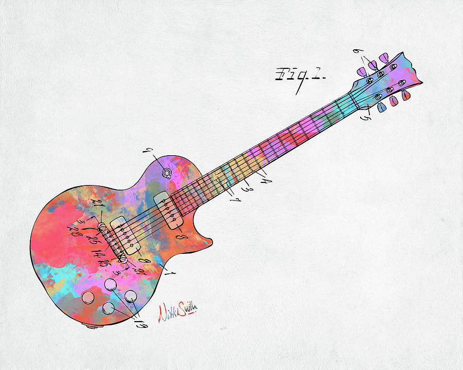 Colorful 1955 McCarty Gibson Les Paul Guitar Patent Artwork Mini by Nikki Marie Smith