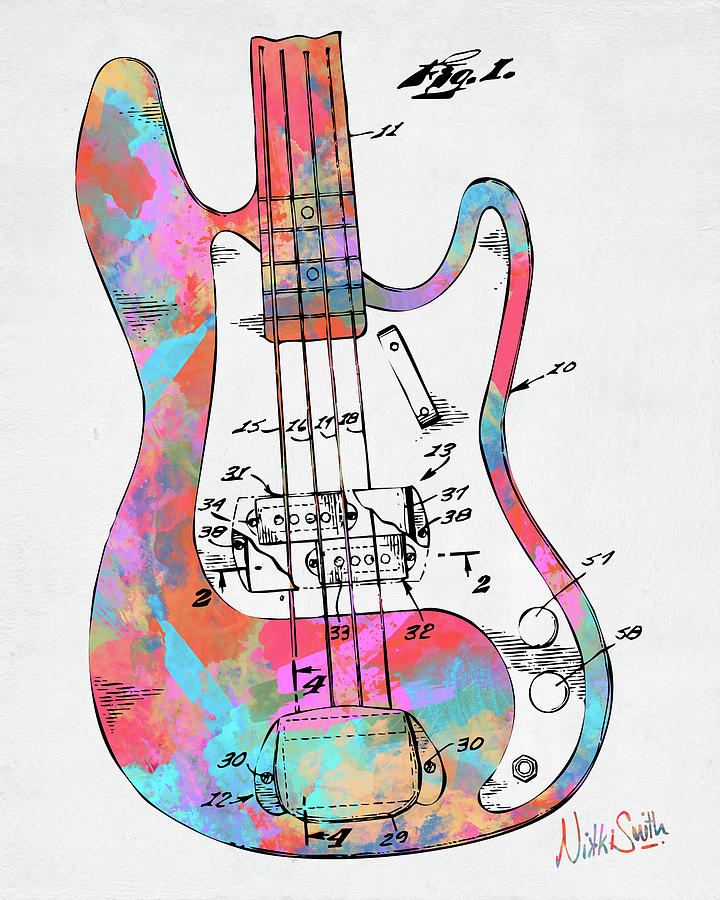 Colorful 1961 Fender Guitar Patent by Nikki Marie Smith