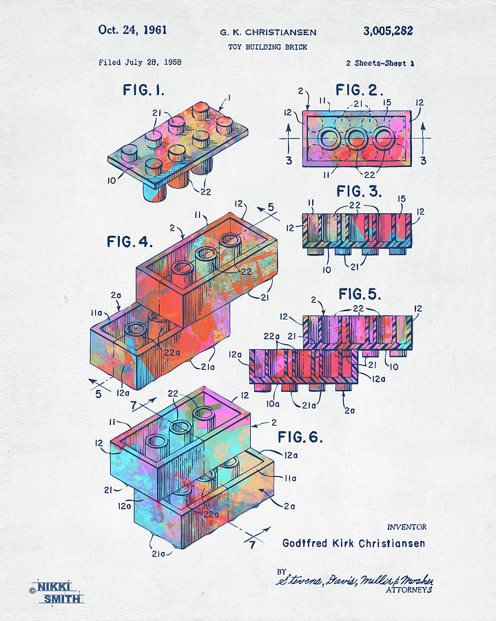 Colorful 1961 Toy Building Brick Patent Art by Nikki Marie Smith