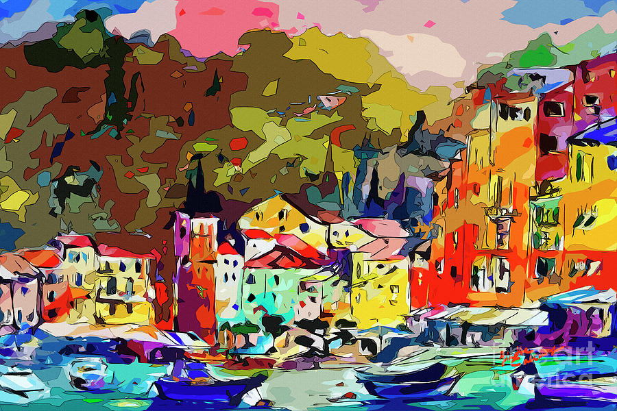 Colorful Abstract Italy Portofino Impression Mixed Media by Ginette Callaway