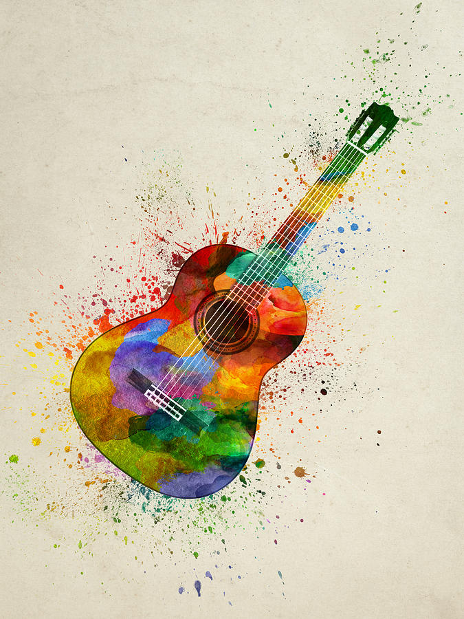 Colorful Acoustic Guitar 01 Painting