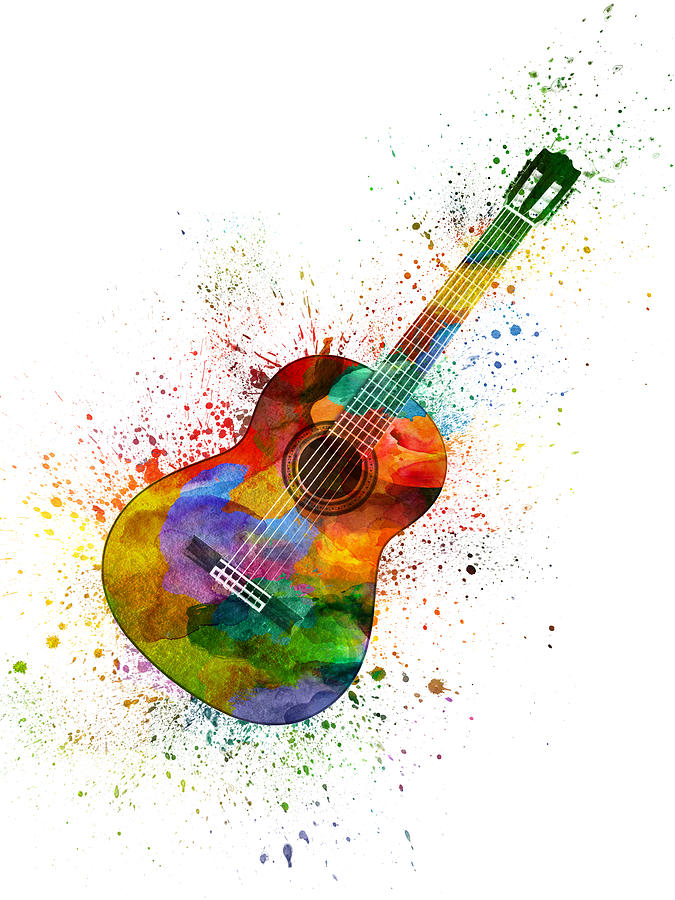 Guitar Painting - Colorful Acoustic Guitar 02 by Aged Pixel