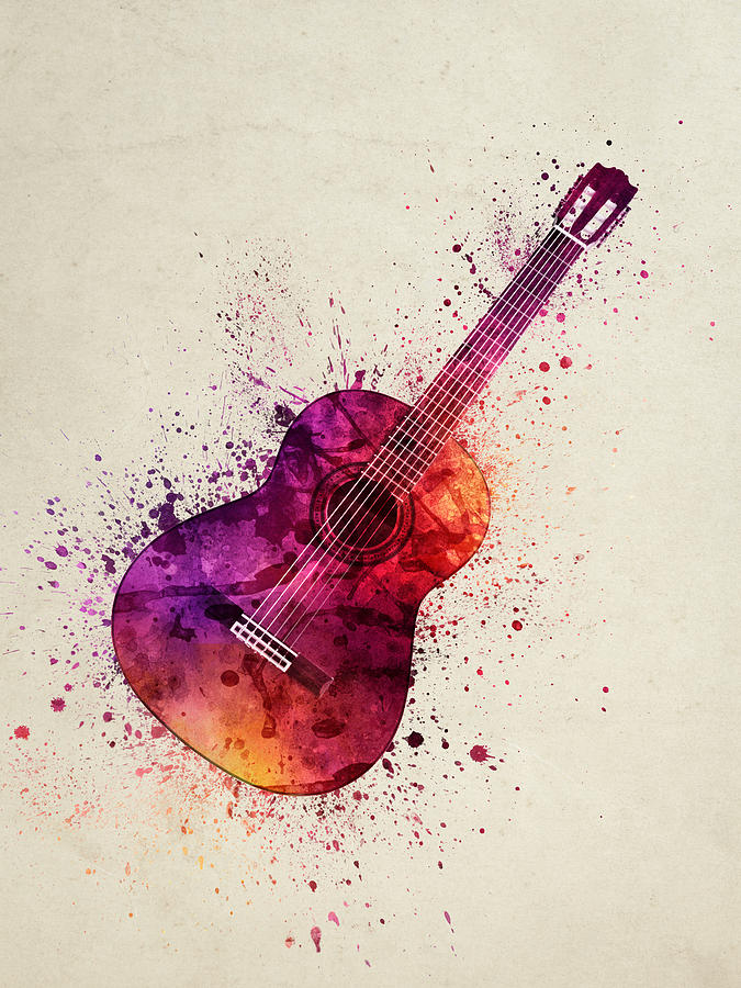 Colorful Acoustic Guitar 03 Painting