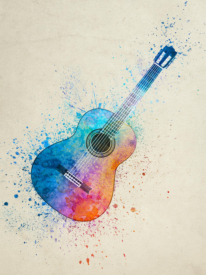Colorful Acoustic Guitar 05 Painting