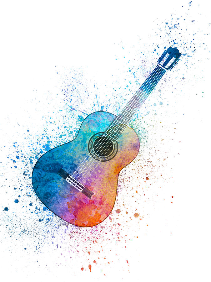 Colorful Acoustic Guitar 06 Painting