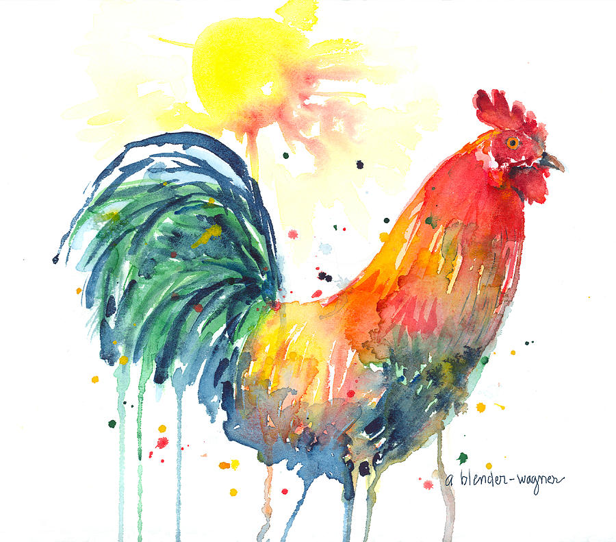 Rooster Painting - Colorful Alarm Clock by Arline Wagner