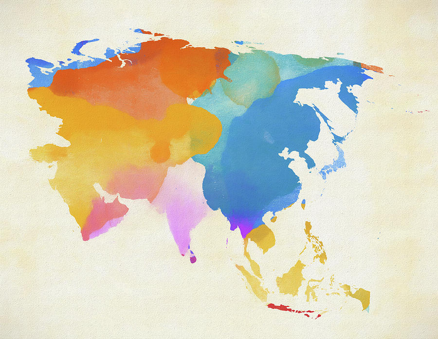 Asia On A Map Of The World.Colorful Asia Map By Dan Sproul