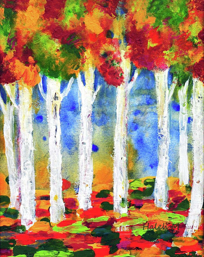 Colorful Aspen Trees View Painting by Haleh Mahbod